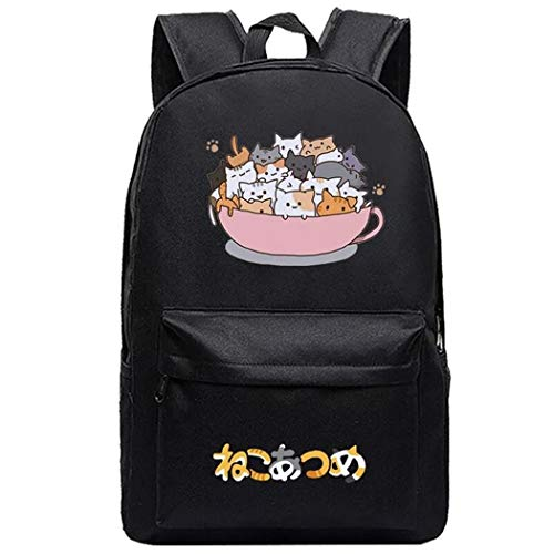 Cosstars Neko Atsume Cat Anime Cosplay Daypack Casual Backpack Day Trip Travel Bag Black /11