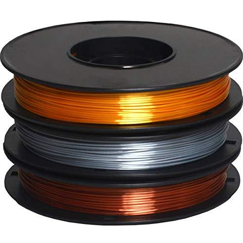DERUC Geeetech Silk Filamento PLA 1,75 mm per stampante 3D, filamento PLA 0,5 kg per bobina, 3 bobine (oro + argento + rame)