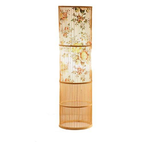 Tingting1992 lampadaire Bambou Main Chinois Tissage Chaud Dimmable Lampadaire Tea Room Lampe De Table Salon Chambre Lampadaire Lampe (Color : A)