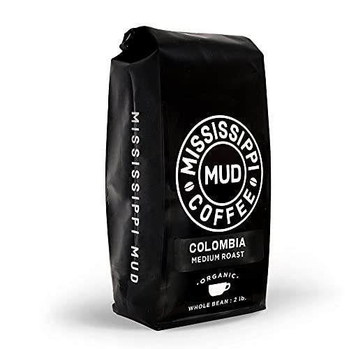 Mississippi Mud Colombia Whole Bean Coffee Medium Roast, 100% Organic Arabica, 2 lb.