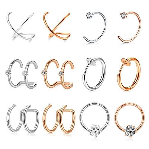 AVYRING Chirurgenstahl Non-Pierced Ear Cuff Schmuck für Damen Herren Fake Nasenpiercing Helix Knorpel Ohr Piercing 6 Paare - Silber&Rose Gold