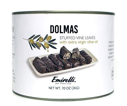 Emirelli Dolmas Stuffed Grape Leaves with Rice, Mediterranean Herbs in Extra Virgin Olive Oil – Super Tasty Ready to Eat VeganRolls - Traditional Turkish Recipe – Dolmades Can
