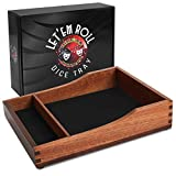 Let'em Roll Dice Tray | Wood Dice Rolling Tray with Dice Mat, Helps Reduce Noise for The Dice Roller