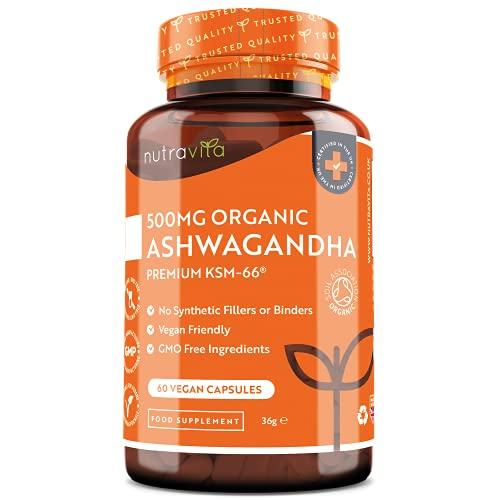 Biologische Ashwagandha Vegan Capsules - 500 mg Ashwaganda KSM-66-5% Withanolides (actief ingrediënt) - 100% natuurlijk Ayurveda supplement - Gemaakt in het VK door Nutravita