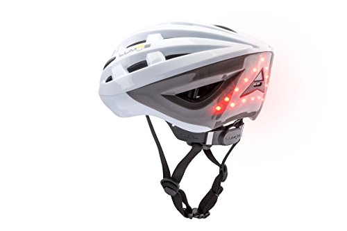 Lumos LLHE Kickstart Lite Smart Bike Helmet, Polar White | Front and Rear LED Lights