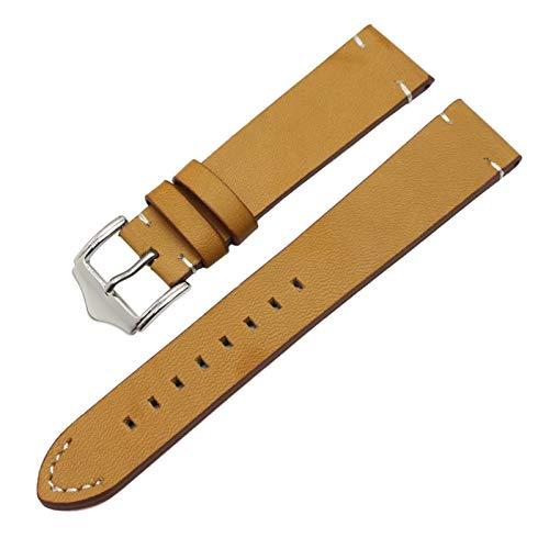 Beapet Reloj de Reloj de Cuero Genuino Italiano 18 mm 20 mm 22 mm Hombre Hombre marrón Oscuro marrón Negro Vendimia Reloj de muñeca Correa cinturón Hebilla (Color : Brown, Size : 18mm)