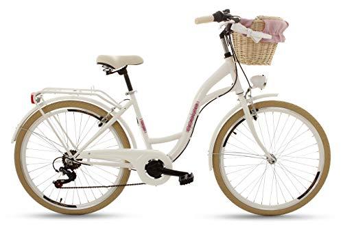 Goetze RGO052606-810413 Mood 26 6B Damen Citybike Stadtrad Damenfahrrad Damenrad Hollandrad Retro-Design 6-Gang LED-Beleuchtung Korb Weiß M