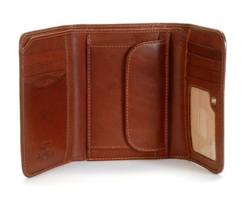 Tony Perotti Italian Cow Leather Trifold Clutch Wallet with ID and Coin Pouch