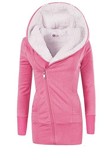 REXOO N596 Damen Jacke Mantel Winterjacke Kapuze Gefüttert Sweatjacke Hoodie, Farben:Pink, Größen:XL