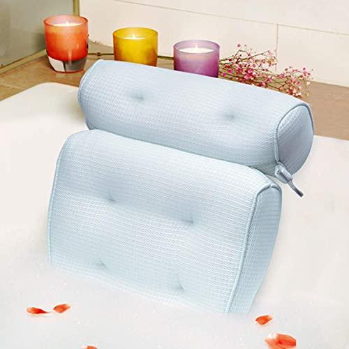 Idle Hippo Bath Pillow, Tencel Spa Bathtub Pillow, Ultra Soft Bath Pillows for Tub Neck and Back Support, Quick Dry Bath Tub Pillow Headrest for Bathtub, Jacuzzi, Machine Wash - Light Blue