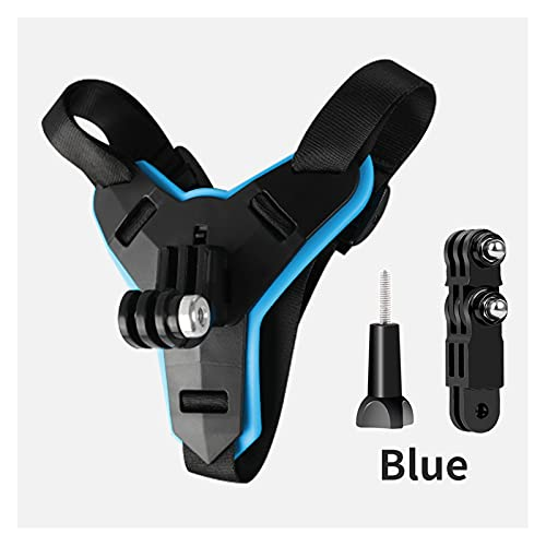 CX Casco de la Motocicleta Chin Stand Holder Soporte de Montaje Ajuste para GoPro Hero 9 8 7 6 5 4 3 Xiaomi Yi Acción Cámara Deportiva Cara de Cara Completa Accesorio (Colour : Blue and Mount)
