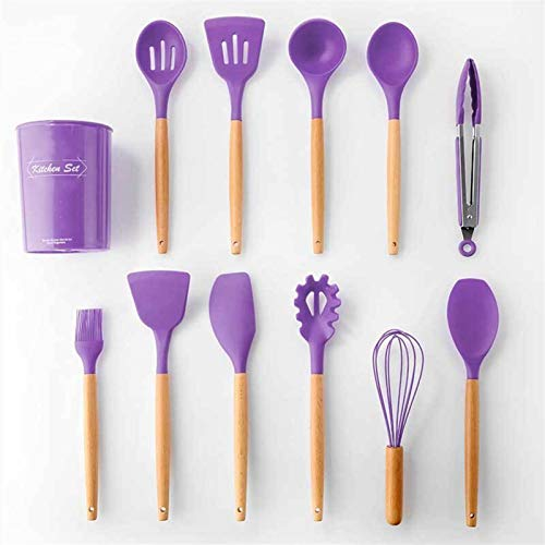 11 PCS Purple Kitchen Utensil Set with Holder - Silicone Wood Nonstick Cookware Cooking Utensils Set for Countertop