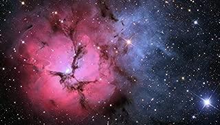 YYAYA.DS Galaxy Nebula Pink Stars Glitter. - Art Print Silk Fabric Cloth Rolled Wall Poster Print 42x24 Inches