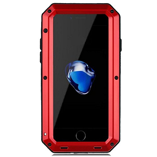 iPhone 7 Case, iPhone 8 Case, CarterLily Full Body Shockproof Dustproof Waterproof Aluminum Alloy Metal Gorilla Glass Cover Case for Apple iPhone 7 iPhone 8 4.7 inch - Red