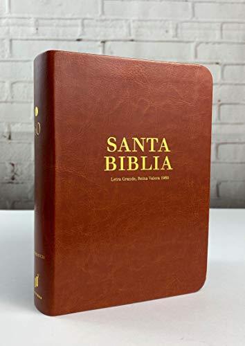 Biblia Reina Valera 1960 Letra Grande 10 Puntos Lectura Cómoda Tamaño Portátil Imitación Piel Café Canto Dorado Palabras de Cristo en Rojo Referencias Cruzadas Concordancia y Mapas