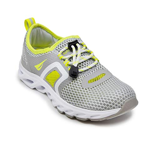 Nautica Womens Water Shoes Jogging Quick Dry Pool Sports Sneaker-Aslin-Grey/Yellow-6