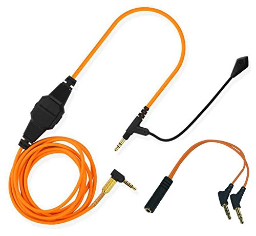 Lovinstar Replacement Cable Boom mic Volume for PS4 PC Xbox One to V-Moda & Most 3.5mm Input Headphone Aduio Cable Computer Game (Orange)