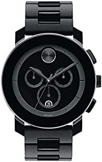 Movado Men's BOLD TR90 Chronograph Watch with a Sunray Dot Black Dial, Black/Grey (Model 3600048)