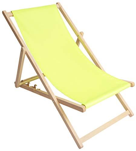 Kubi Sport - Tumbona de jardín plegable de madera de haya (limón verde claro)