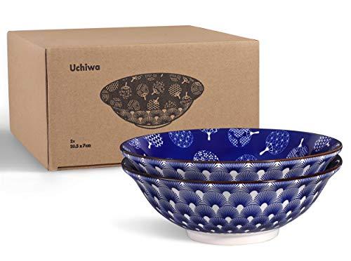 Urban Lifestyle 2 x Ramenschale aus Porzellan 20cm mit blau/weißem japanischen Uchiwa-Muster