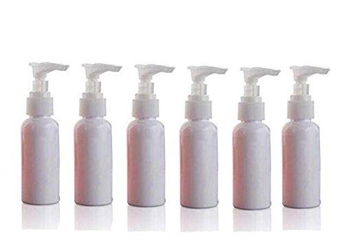 Botella dispensadora de jabón de plástico multicolor de 50 ml con bombas blancas para loción/jabón, botella pequeña rellenable de viaje, paquete de 6 unidades (blanco)