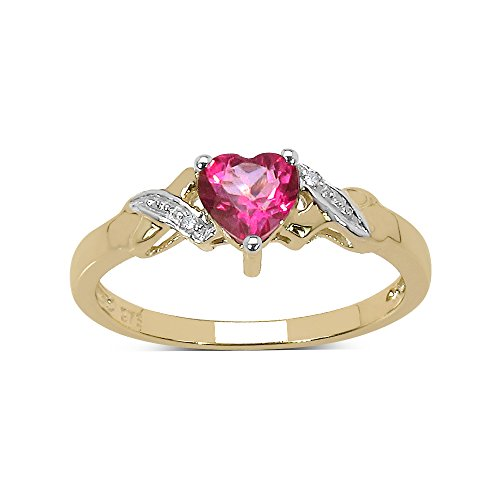 The Pink Topaz Ring Collection: 9ct Gold Small Heart Shaped Deep Pink Topaz with Diamond Set Shoulders Engagement Ring, Valentines Day (Size J)