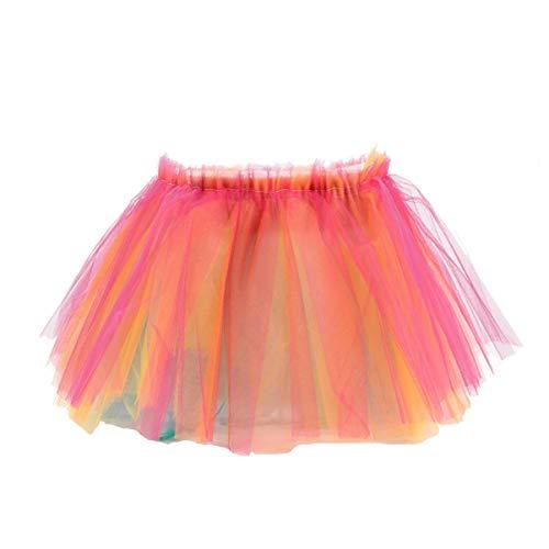 KESYOO Falda de Tutú con Luz LED Falda de Tul con Luz Falda de Baile de Escenario Novedad Falda de Burbuja para Niñas Disfraz de Fiesta Accesorios de Disfraces (Colorido)