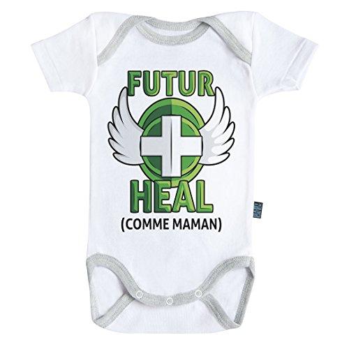 Baby Geek Futur Heal comme Maman (Version garçon) - Body Bébé Manches Courtes - Coton - Blanc - Coutures Grises (6-12 Mois)