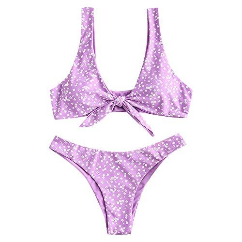 ZAFUL Damen Blumen Niedrige Taille Vorderknoten Bikini Set Süß Zwei Stück Badeanzüge(Lila,M)
