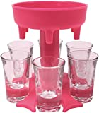 XYAO Glass Pourers and Holder, Plastic Multiple 6 Shot Dispenser Pourers for Liquor Scotch Bourbon Vodka Cocktail Shots Dispenser Bar Shot Dispenser(6 Cups are Included) Cups+Redshelf
