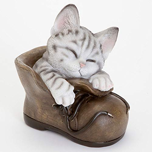 Bits and Pieces - Cat in A Shoe Polyresin Garden Sculpture - Decorative Yard Art Accent for Outdoors Lawn and Patio Décor, Backyard Sculpture, and Decoration