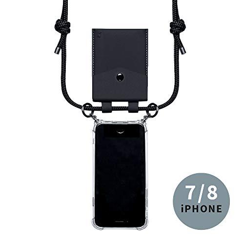 phonecover lover für iPhone 7/8 - Handy-Kette für Smartphones mit Tasche als Kartenetui für Kleingeld - Stabile Handyhülle zum Umhängen für Dein iPhone - Smartphone Necklace (Schwarze Tasche)