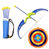WonderPlay Kids Archery Bow and Arrow Toy Play Set with Target and Includes 6 Suction Cup Arrows, Outdoor Shooting Bow Kids Toy Garden Fun Games