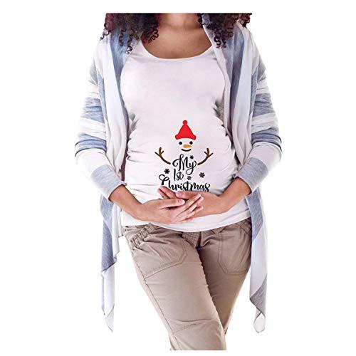 Camiseta de premamá de Navidad Divertida para Mujer de Maternidad, de Manga Corta, para premamá o Navidad Bianca...