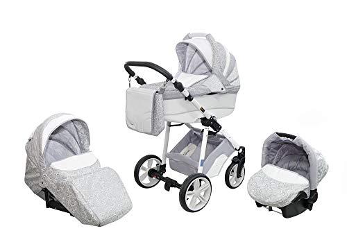 Skyline Kombi 3in1 Kinderwagen mit einem Aluminium Gestell, Babywanne, Sport Buggyaufsatz und Babyschale (ISOFIX) (Grau)