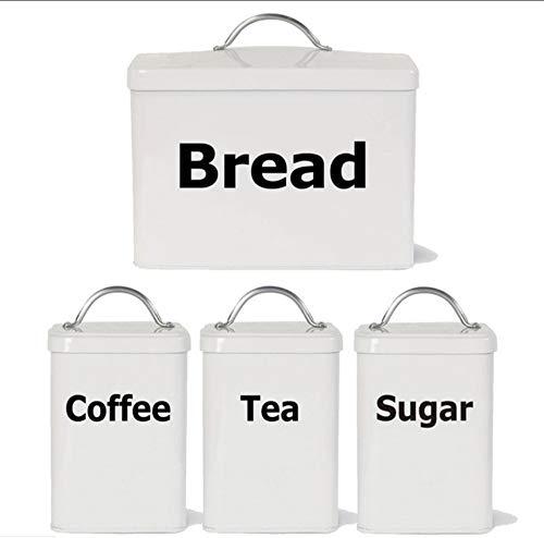 Waofe Satz Von 4 Küchenetiketten Aufkleber Aufkleber, Tee Kaffee Zucker Brot Jar Bin Kanister Vinyl Aufkleber Aufkleber Für Die Küche