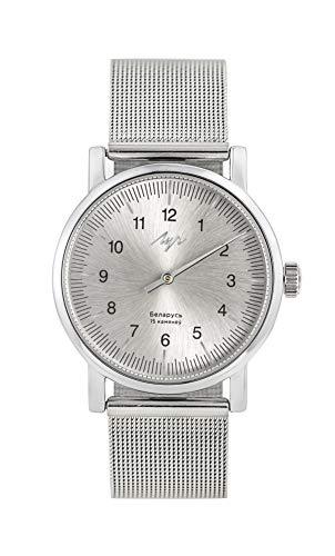 LUCH 91950789 - Orologio da polso con meccanismo a 15 gioielli zaffiro, quadrante argento e cinturino in acciaio inox, cromato