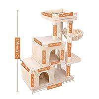 猫の登山おもちゃ、猫の家、子猫の猿のバー、猫の木、トレーニングスクラッチャー-AMT0060Beige_L
