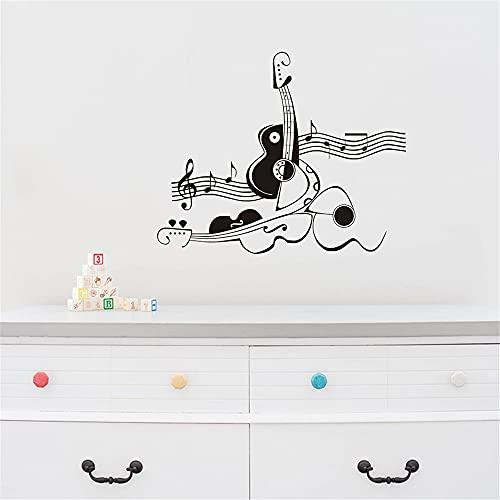 Creativo astratto Chitarra e violino Adesivo da parete in vinile Murale Note musicali Carta da parati artistica Adesivo murale A6 43x36 cm