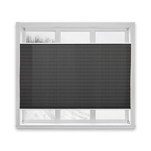 Floordirekt Plissee Rollo Magic | moderner Sichtschutz | Fensterrollo mit Klemmfix ohne Bohren | Klemmrollo | 7 Farben & viele Größen (90x100 cm, Schwarz)