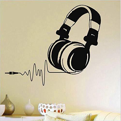 Hllhpc Vinyl muursticker, warm, DJ-koptelefoon, muziek pulse decal, wanddecoratie, afneembaar, voor muziekfans 57 x 65 cm
