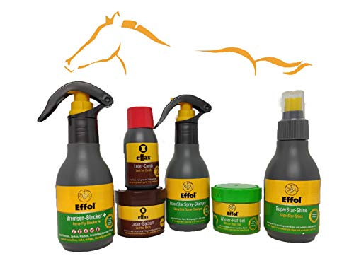 Effol/Effax 6 Set Pflegemittel - Bremsen Blocker, SuperStarShine, OceanSprayShampoo, Hufsalbe.