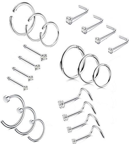 Milacolato 14-21 Piezas aro de Acero Inoxidable Anillos de la Nariz Anillo de la Nariz Stud Body Piercing Jewelry CZ con Incrustaciones 1.5MM 2MM 2.5MM 3MM