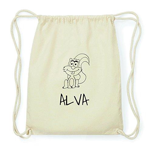 JOllipets ALVA Hipster Turnbeutel Tasche Rucksack aus Baumwolle – Design: Eichhörnchen - Farbe: Natur