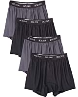 Bolter Men's 4 Pack Performance Boxers Shorts (Large, Black/Grey)