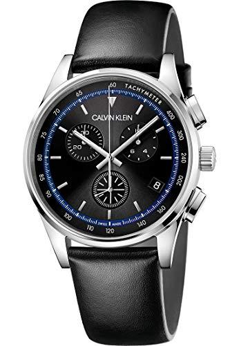 Calvin Klein Heren analoog kwarts horloge met echt lederen armband KAM271C1