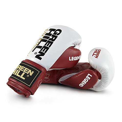 Green Hill Legend Boxhandschuhe, Unisex, für Erwachsene, Weiß/Rot, 14 Oz