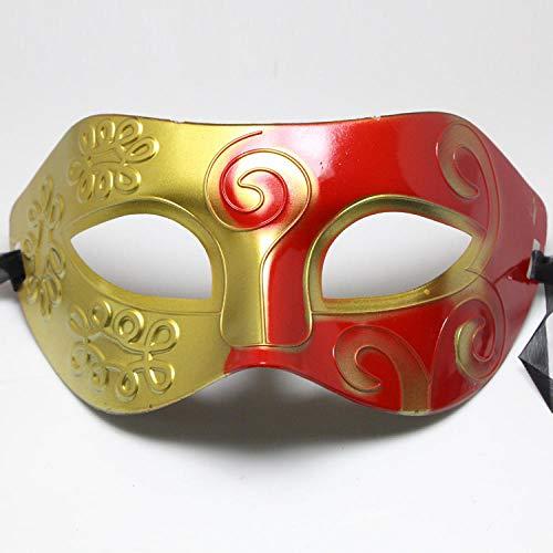 YULEJIA Maskerade Maskers Voor Vrouwen, Venetië Halloween Koppels Partij Rood Geschilderd Hard Plastic Platte Hoofd Gesneden Masker Carnaval Cosplay Mardi Gras Masker Prom Artiesten Wanddecoratie