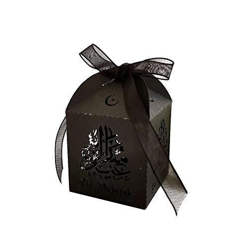 BRANDNEWS bonnendoos, 50 stuks eid mubarak gouden snoep chocolade doos Ramadan suiker hol bewaarkoffer met band partij Levert 5x5x8 cm chic