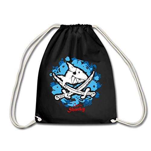 Spreadshirt Käpt'n Sharky Flagge Haifisch blauer Hintergrund Turnbeutel, Schwarz